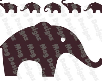 Vinyl Elephants - Chocolate Brown or your color choice- No.2 on etsy