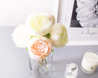 5pcs White Peach Peony Peonies Silk Flowers Silk Flower Artificial Flowers for DIY Wedding Bouquet Table Centerpiece Home Decor
