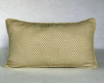 """Beige Polyester Blend 22""""x12"""" Abstract Patterned Pillow w/ Self Pipping"""
