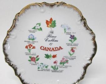 """The Flower Emblems Of Canada Souvenir Plate 8 1/4"""" Diameter"""