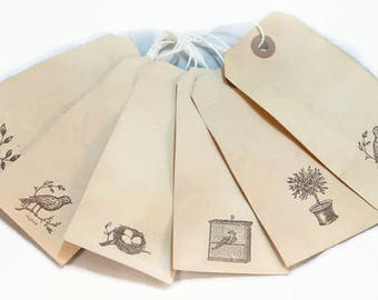 Bird Gift Tags, Cottage Chic Tags, Shabby French Tags, Tea Stained Tags, Favor Tags, Primitive Luggage Tags, French Tags, Wedding Favor Tags