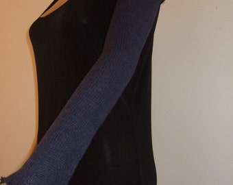 Long fingerless gloves-sleeves 40 cm in beautiful soft blue Alpaca yarn