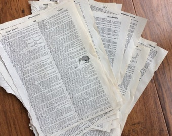 30 vintage dictionary pages