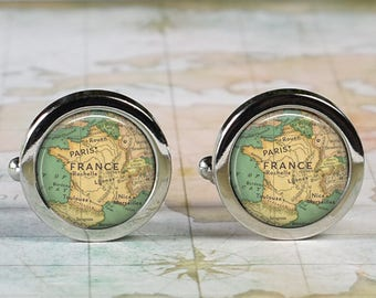 France cuff links, France map cufflinks wedding gift anniversary gift for groom gift for men groomsmen gift for best man Father's Day gift