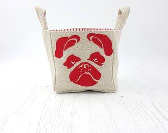 Pug Storage Basket, Pug Dog, Dog Toy storage basket, dog treats, pugs, cute dogs, dog basket, french bull dog, red pug dog basket
