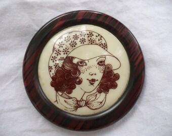 LEA STEIN So Cute VINTAGE Serigraphy brooch youg girl portrait