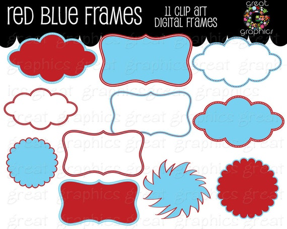 Red and Blue Frame Kids Birthday Party Digital Frame Clipart