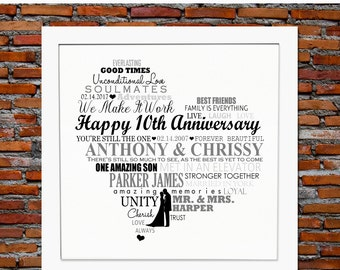 10th ANNIVERSARY GIFTS, Personalised 10th anniversary gift, 10th wedding anniversary gift, 10th anniversary gift for parents
