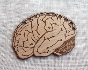 Brain Thread Organizer Holder : wooden geek science counted cross stitch holder embroidery