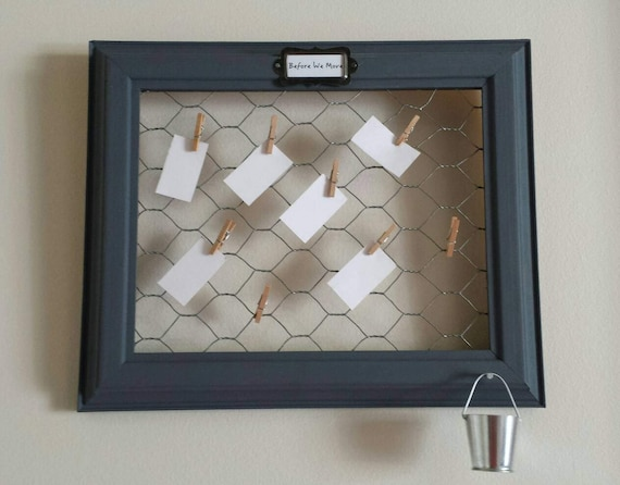 Bucket List Frame with Chicken Wire, Bucket and Eight Tiny ...