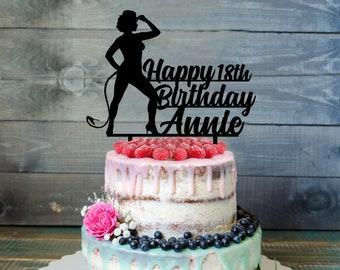 Birthday cake topper- Silhouette Birthday cake topper- pin up cake topper- Personalized Birthday Cake Topper- Custom cake topper