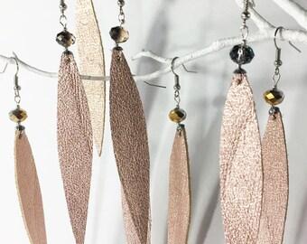 Metallic Rose-Gold Leather Extra-Long Boho Statement Earrings