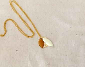 Mustard & Cream pendant necklace / / CELESTE