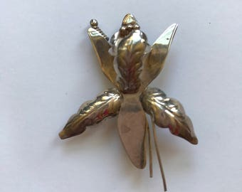 Charming Vintage Taxco Sterling Iris Brooch