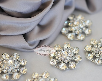 Rhinestone Button - 10pcs Rhinestone Crystal Button - RD 325- Rhinestone Button - Metal Button  - Rhinestone Flatback Embellishments
