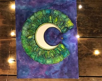 Creacent Moon // original watercolor