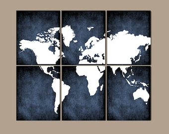 Map wall art etsy world map wall art canvas or prints bedroom pictures grunge effect navy colors gumiabroncs Image collections