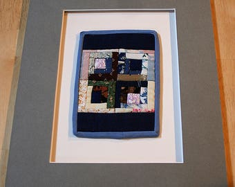 """Four Black And White Log Cabins--5"""" x 3 1/2""""--Matted--Home Decor--Includes shipping"""