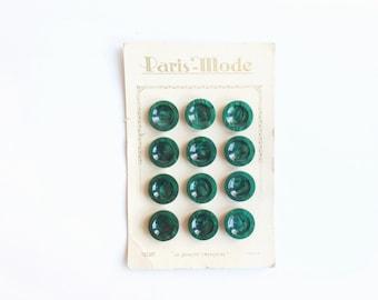 Emerald Green Buttons , Original Card, Button, Dark Green, Paris Mode