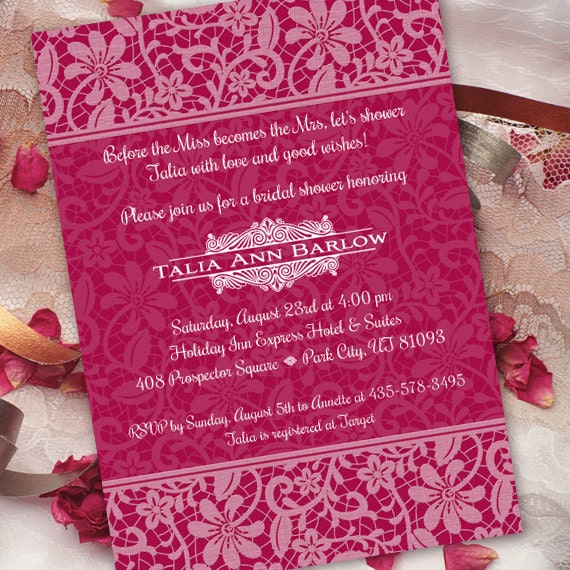 bridal shower invitations, hot pink bridal shower invitations, fuchsia bridal shower invitations, hot pink birthday party invitation IN217.2