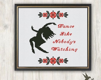 Dance like Nobody's Watching cross stitch, woman silhouette cross stitch , modern cross stitch, woman dancing pattern, PDF, Needlecraft