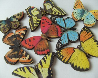 Wood, Butterfly brooch, wooden butterfly, choose style, Summer, mix colour, red, blue, yellow, by NewellsJewels on etsy