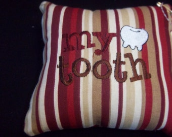 1021  Red, Tan, Taupe and Ivory Striped Tooth Fairy Pillow