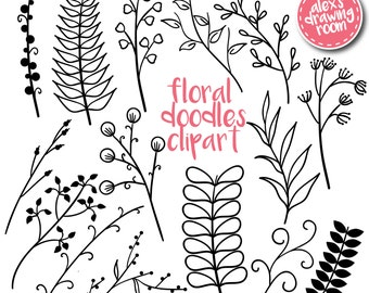 Floral doodles clipart, floral elements, clip art, branches clipart, flower clipart, floral clipart, leaves clipart, hand drawn, floral