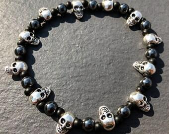 Black and Silver Skull Bracelet