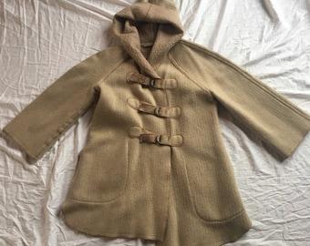 Vintage Wool Hooded Parka Vintage Buckle Coat Vintage Oversized Wool Jacket