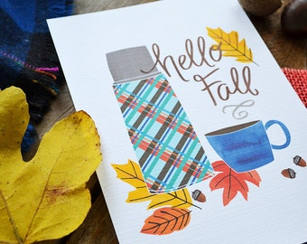 Happy Fall, Hello Autumn, Vintage Thermos, Plaid, Seasonal Decor, Welcome Fall, Illustration, Autumn Leaves, Fall Decoration, Art Print