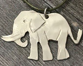 Upcycled ELEPHANT necklace made from vintage silverplate spoon