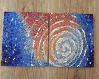Mosaic space art/wall art picture/abstract art/mosaic picture/small picture/original art work/glass mosaic/galaxy/space/peace/wall decor/him