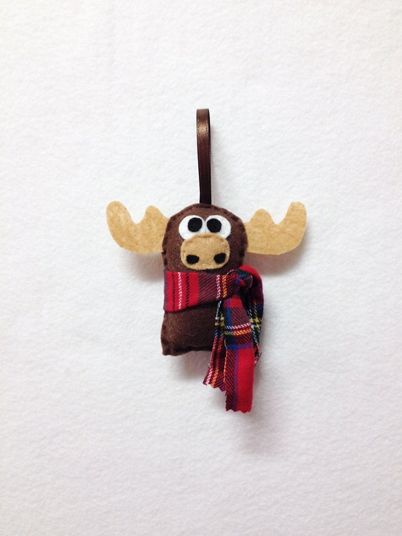 Moose Ornament, Christmas Ornament, Felt Ornament, Moose, Woodland Animal, Gifts for Kids, Gifts under 10, Stocking Stuffer