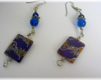 Pendant/Purple/ Blue Glass/ Dangle Earrings-Mother's Day Gift