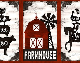 Farm House Panel, Barn Animal, Triptych Panel - Homestead by Jennifer Pugh for Wilmington Prints 82534 193 - Priced by the 1/2 yard