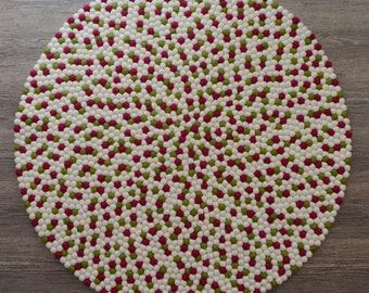 Felt ball rug JPP, Pink shade, felt ball rugs, nursery rugs, kid room felt ball rug, freckle rug