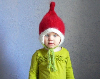 Santa Elf hat costume, Size 2 years and up, knit pixie kids hat