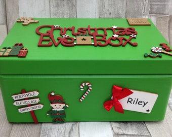 Personalised Christmas Eve Box, Wooden Christmas Eve Box, Keepsake Box