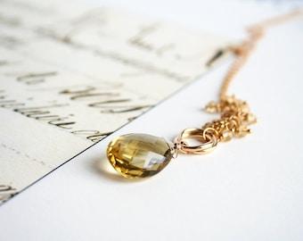 Citrine Necklace, November Birthstone, Gemstone Jewelry, Birthstone Jewelry