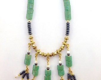 Green Jade Arrow Necklace with Pyrite, Brass, and Glass Beads