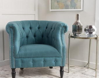 Mid Century Modern Chair, Teal Chair, Hollywood Regency, Classic Furniture, Elegant Furniture, Teal Studded Chair, Vintage Hollywood, Tufted