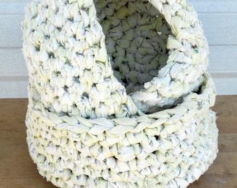 Upcycled rag crochet baskets, nesting bowls