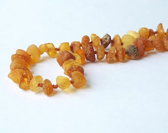 Raw amber necklace baltic amber teething necklace unpolished amber necklace amber necklace for baby eco amber gift amber jewelry