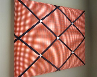 "Orange Gingham & Navy Blue 11""x14"" Memory board, Bow Board, Ribbon Board, Bow Holder, Business Card Holder, Photograph Holder, Memo Board"