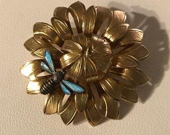 Vtg Wells 14k G.F. Flower pin w/ Enamel Bee