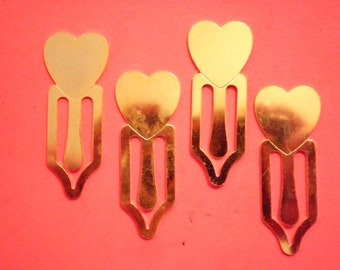 4 Vintage Goldplated Heart Bookmarkers