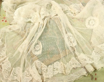 "Antique panel 54"" sweep tulle cotton point d'esprit lace fabric woven dot french doll jumeau bebe bru dress trim"