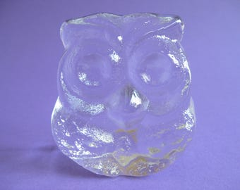 Vintage Lars Hellsten for Skruf Claer Ice Glass Owl Paperweight Heavy Glass 1970's