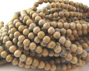 Grain Stone Beads, Natural 6mm Round, 16 inch Strand, 6mm Brown Beads, Beading Supplies, Item 689pm